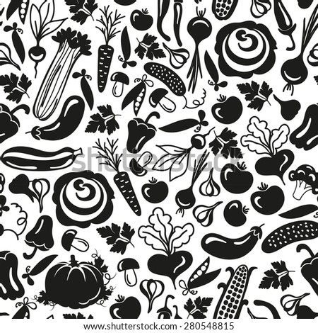 seamless pattern vegetables on a white background