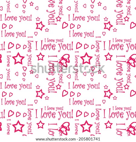 Seamless pattern wallpaper valentine with hearts and text I love you - stock photo