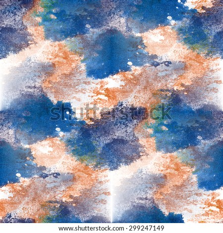 Seamless pattern watercolor blue, brown hand abstract painted background wallpaper - stock photo