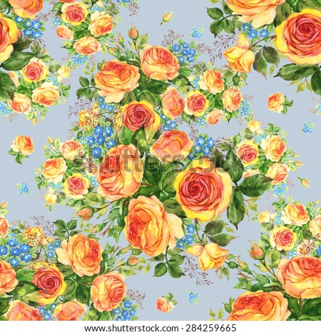 Seamless pattern watercolor bouquet of delicate tea roses with forget-me-9 - stock photo