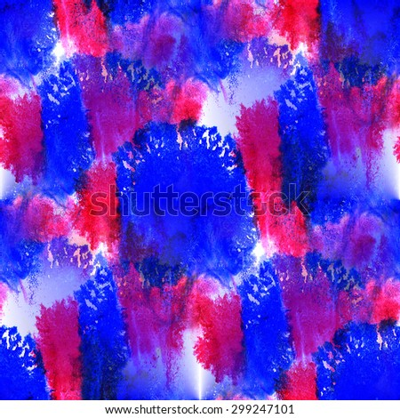 Seamless pattern watercolor hand abstract red, blue painted background wallpaper - stock photo