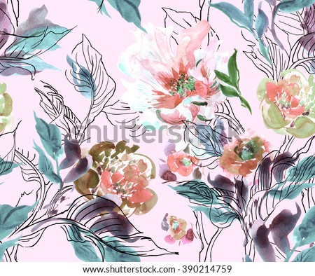 Seamless Pattern Watercolor Hand Drawn Artwork Illustration Peony with Doodle Leaves Blue Pale trendy fabric design - stock photo