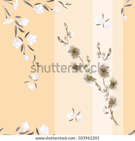 Seamless pattern watercolor of white and beige flowers on a beige background with vertical stripes.