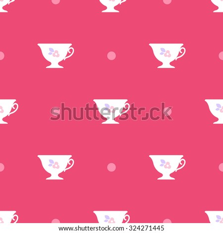 Seamless pattern. White cups with flowers on pink background.