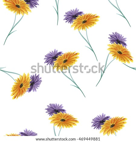 Seamless pattern wild autumn violet and yellow flowers on the white background. Watercolor.