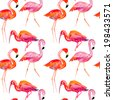 seamless pattern with a pink flamingo. - stock vector