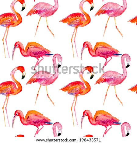 seamless pattern with a pink flamingo. - stock photo