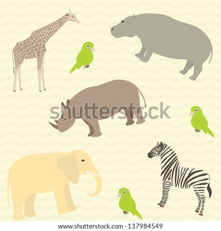 Seamless pattern with african animals on wavy background. Raster version. - stock photo