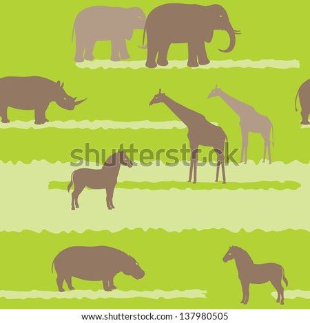 Seamless pattern with african animals silhouettes. Raster version. - stock photo