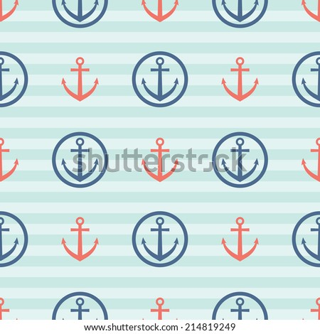 seamless pattern with anchors, sea theme retro background