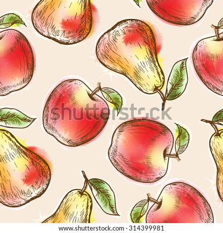 Seamless pattern with apples and pear. Painted in watercolor style - stock photo