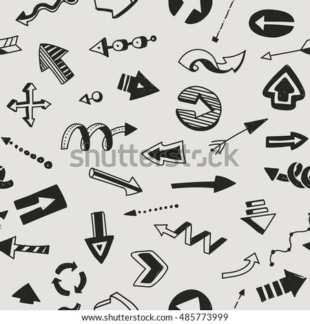 Seamless pattern with arrows. Hand drawing. Black-and-white symbols