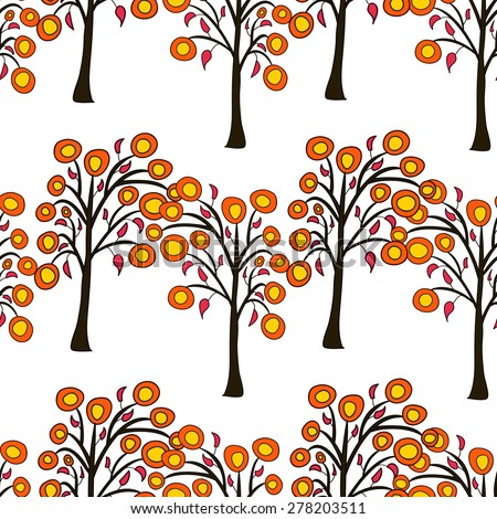 seamless pattern with autumn trees on the white background - stock photo
