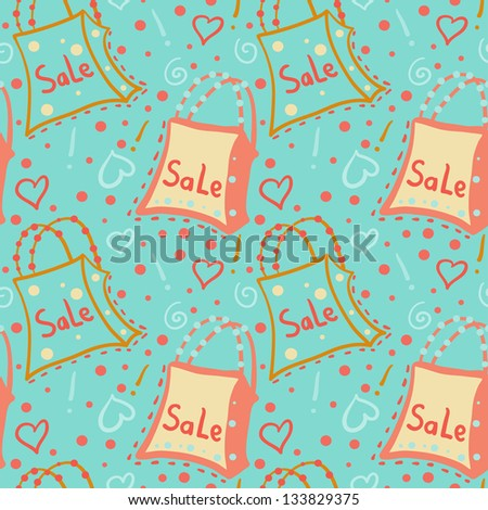 Seamless pattern with bags on green background - raster version - stock photo