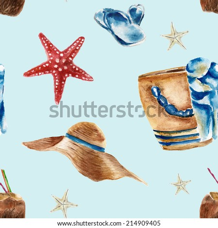 Seamless pattern with beach bag, shoes, sunglasses and a coconut  - stock photo