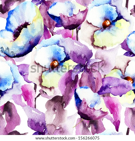 Seamless pattern with Beautiful Blue flowers, Watercolor painting  - stock photo