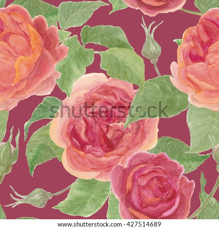 Seamless pattern with Beautiful english rose flowers, Watercolor painting