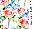 Seamless pattern with Beautiful Hydrangea blue flowers, watercolor illustration  - stock