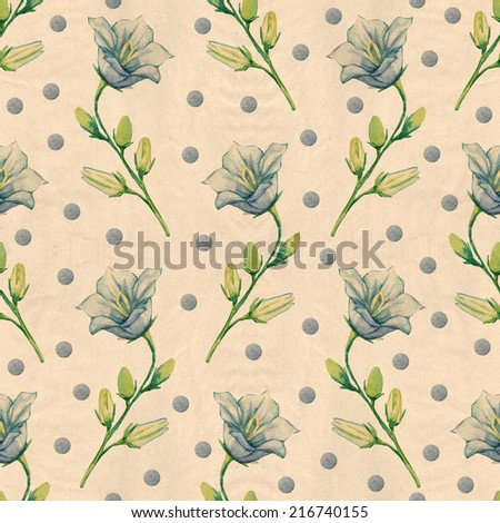 seamless pattern with bell flower. watercolor - stock photo