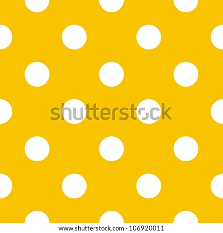 Seamless pattern with big white polka dots on a sunny yellow background. For cards, invitations, wedding or baby shower albums, backgrounds, arts and scrapbooks. - stock photo