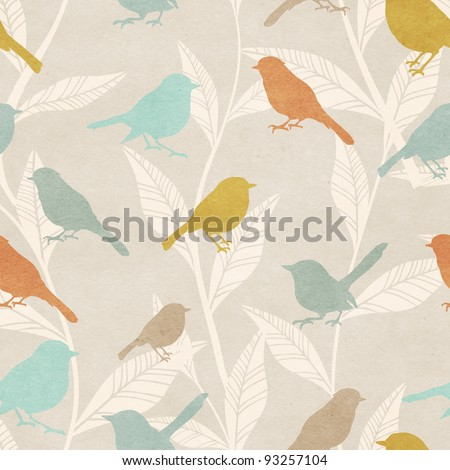 Seamless pattern with birds and foliage - stock photo