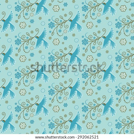 Seamless pattern with birds, flowers, leaves. Flying bird with blooming branch in beak. Decorative blue illustration for print, web - stock photo
