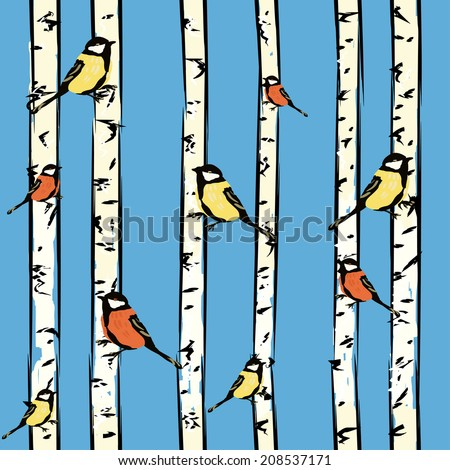 Seamless pattern with birds on birches, - stock photo