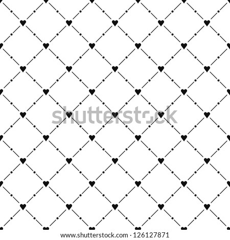 Seamless pattern with black heart symbol on white background. Template size square format. This image is a bitmap copy my vector illustration