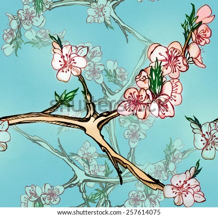 Seamless pattern with blooming apricots, hands drawing - stock photo