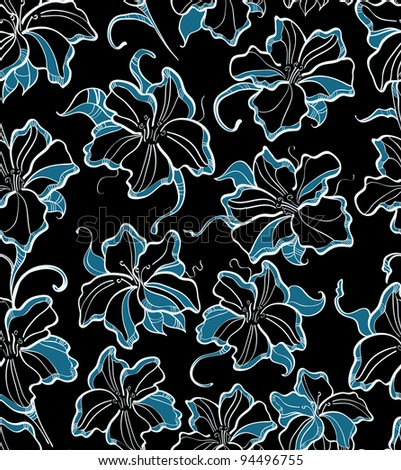 seamless pattern with blue flowers, beautiful illustration