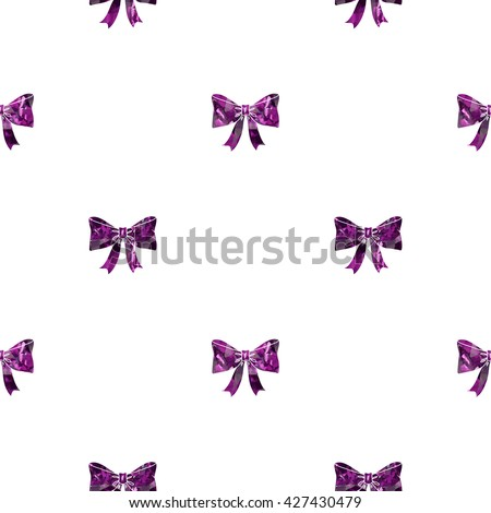 Seamless pattern with bows on a white background.  - stock photo