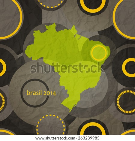 seamless pattern with brazil map on textured paper - stock photo