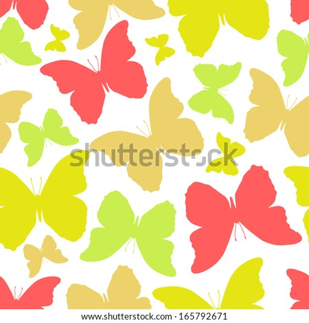 Seamless pattern with bright colorful butterflies isolated on white background
