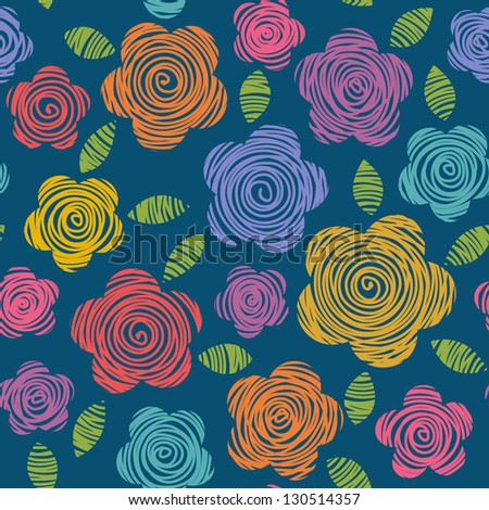 Seamless pattern with bright flowers and leaves of doodles made using stencil. Abstract  summery simple cute illustration. Floral colorful decorative ornamental background in hand draw childish style