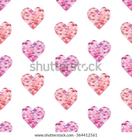 Seamless pattern with bright hand painted watercolor triangle hearts. Romantic decorative background perfect for Valentine's day gift paper, wedding decor or fabric textile  - stock photo