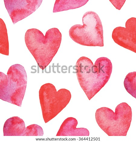 Seamless pattern with bright red hand painted watercolor hearts. Romantic decorative background perfect for Valentine's day gift paper, wedding decor or fabric textile  - stock photo