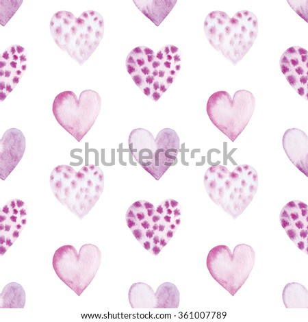 Seamless pattern with bright violet hand painted watercolor hearts. Romantic decorative background perfect for Valentine's day gift paper, wedding decor or fabric textile  - stock photo