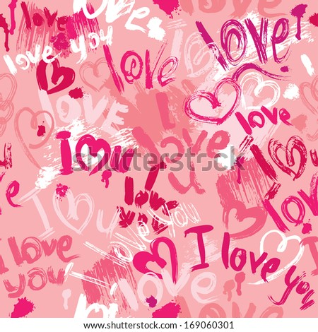 Seamless pattern with brush strokes and scribbles in heart shapes and words LOVE, I LOVE YOU - Valentines Day Background. Raster version - stock photo