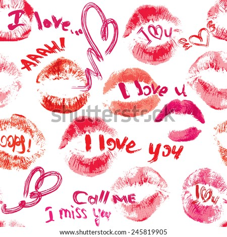 Seamless pattern with brush strokes and scribbles in heart shapes, lips prints and words LOVE, I LOVE YOU - Valentines Day Background. Raster version - stock photo