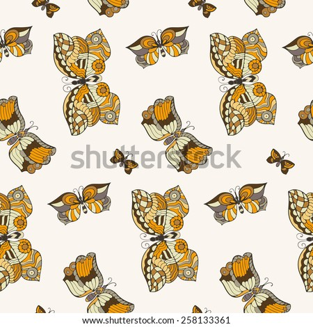 Seamless pattern with butterflies in doodle style. - stock photo