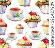 seamless pattern with cakes and cups. - stock vector