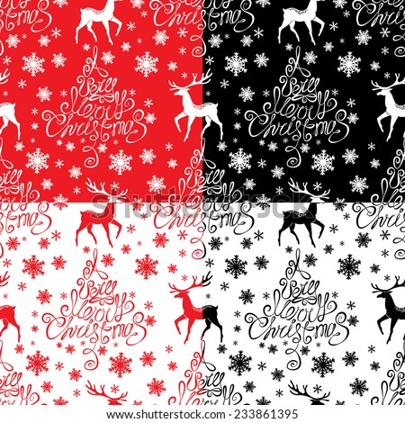 Seamless pattern with calligraphic text A Very Merry Christmas, snowflakes and xmas symbols for winter and xmas theme in red, black and white colors. Raster version - stock photo