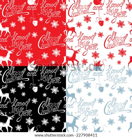 Seamless pattern with calligraphic text Merry Christmas and Happy New Year,  snowflakes and xmas symbols for winter and xmas theme in red, black and light blue colors. Raster version - stock photo