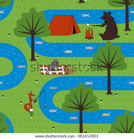 Seamless pattern with camping forest animals illustration