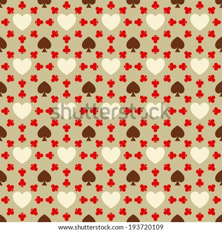 Seamless pattern with card suits for textiles, interior design, for book design, website background - stock photo
