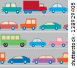 Seamless pattern with cars and trucks on the road. Raster version. - stock photo