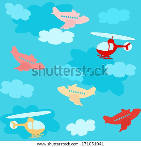 Seamless pattern with cartoon airplanes over sky with clouds. Raster version. - stock photo