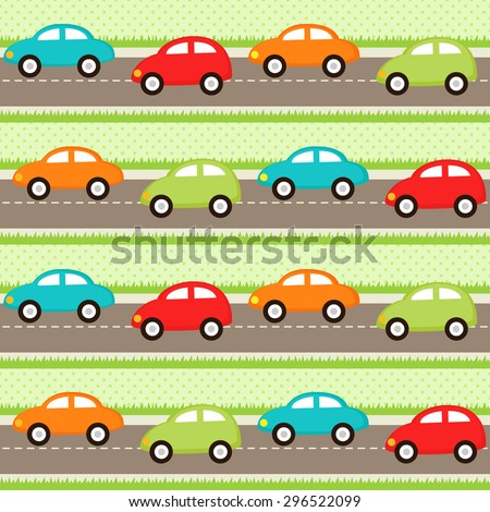 Seamless pattern with cartoon cars. Raster version - stock photo