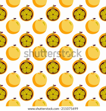 Seamless pattern with cartoon crazy oranges. Endless texture background. Fabric design. Wallpaper - raster version - stock photo