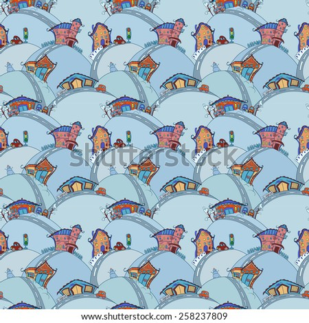 Seamless pattern with cartoon houses in winter colors - stock photo